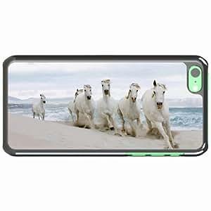 iPhone 5C Black Hardshell Case horse beach sand tabun Desin Images Protector Back Cover
