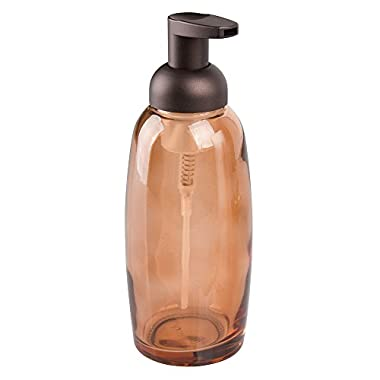 InterDesign Ariana Foaming Glass Soap Dispenser Pump, for Kitchen or Bathroom Countertops- Sand/Bronze
