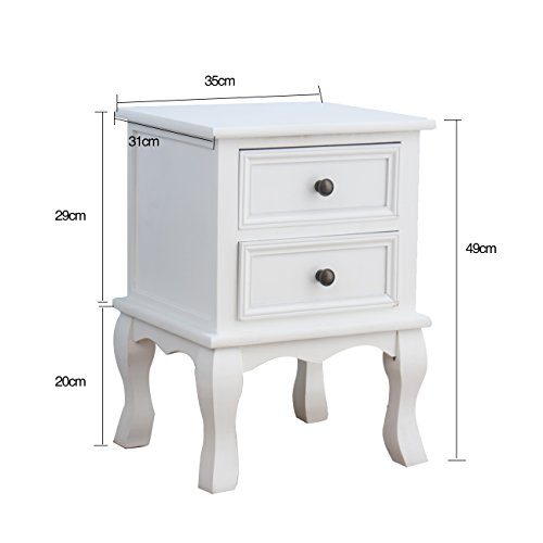 -[ CherryTree Furniture Wood White Bedside Table 2-Drawers Cabinet (White)  ]-