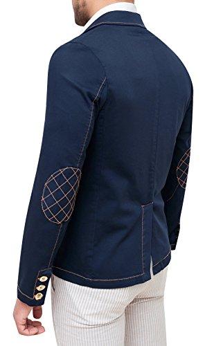 Scuro Fit Elegante In Blu Uomo Giacca Cotone Casual Slim w1Z44F