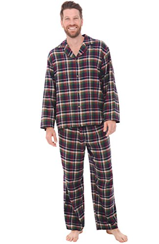 Del Rossa Men's Flannel Pajamas, Long Cotton Pj Set, Large Small Red and Green Plaid (A0544Q29LG)