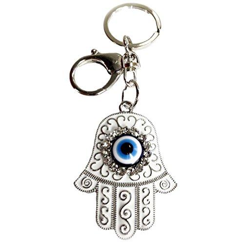 CF76881025 Evil Eye Nazar Hamsa Key Chain Enameled,Handmade in Turkey by Crystal Florida