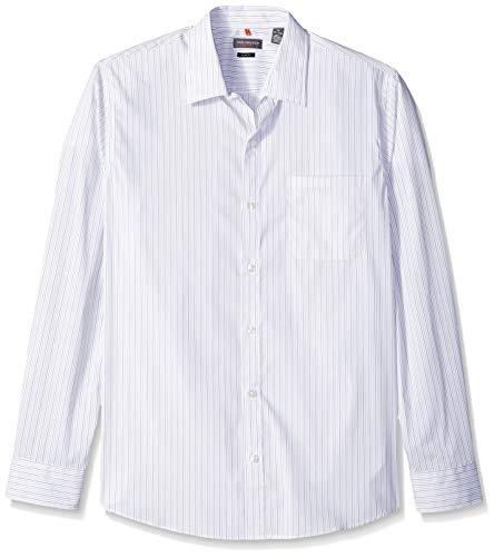 - Van Heusen Men's Slim Fit Flex Stretch Non Iron Shirt, Bright White Stripe, Small Slim