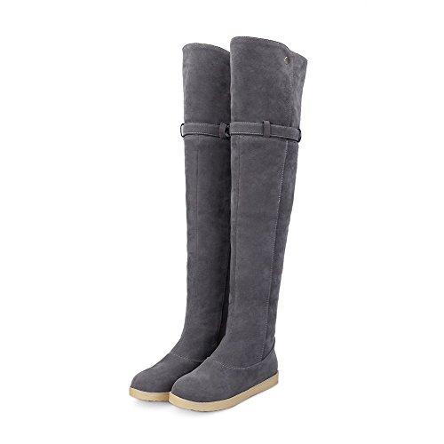 VogueZone009 Damen Ziehen auf Niedriger Absatz Blend-Materialien Oberschenkel Hohe Stiefel, Grau, 42