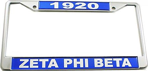 Cultural Exchange Zeta Phi Beta 1920 Domed License Plate Frame [Silver - - Frame License Phi Plate