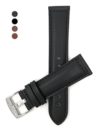 18mm wide, Black Genuine Leather Watch Band Strap, Mat Finish, Tone-on-Tone Stitching, Also Comes in Brown, Tan and Light Brown