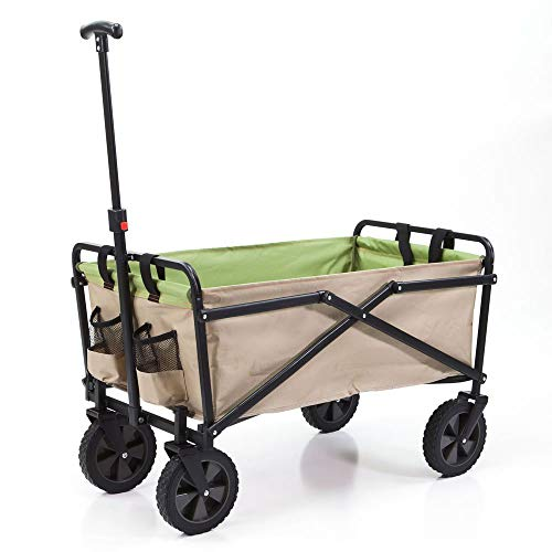 Seina Manual 150 Pound Capacity Folding Steel Wagon Outdoor Garden Cart, Tan
