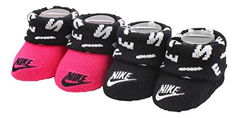 Nike Girls Newborn Infant Booties 2-Pair Pack (Rush Pink, 0-6 Months) (Nike Pink Baby Shoes)