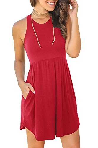 Sans Manches D'été Mini-robes Simples En Vrac Des Femmes Jeazi Chemise T Occasionnels Robe Courte Avec Des Poches # 1 Rouge