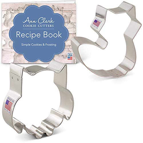 Ann Clark Woodland Animal Cookie Cutter Set with Recipe Booklet - 2 Piece - Cute Owl and Cute Fox - USA Made Steel]()