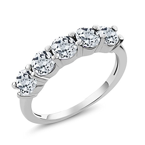 (Gem Stone King 1.65 Ct Round White Topaz Gemstone 925 Sterling Silver 5-Stone Women's Band Ring (Size 6))
