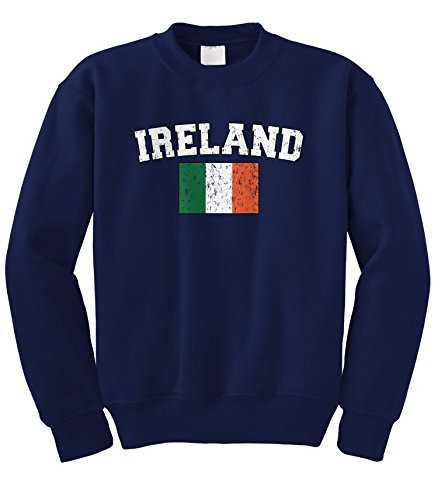 Cybertela Faded Distressed Ireland Flag Crewneck Sweatshirt (Navy Blue, X-Large)