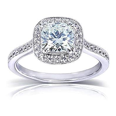 Near-Colorless (FG) Moissanite Halo Engagement Ring 1 1/2 CTW 14k White Gold