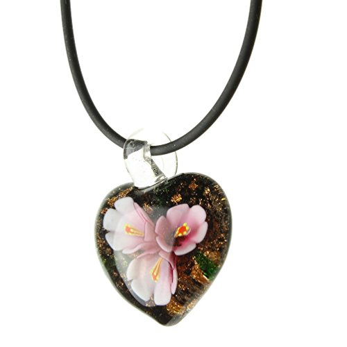 Murano-style Glass Pink Flower Heart Pendant Rubber Cord Necklace Sterling Silver Clasp, ()