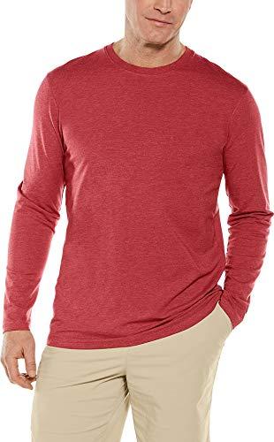 (Coolibar UPF 50+ Men's Long Sleeve Everyday T-Shirt - Sun Protective (XX-Large- Dark Red Heather))