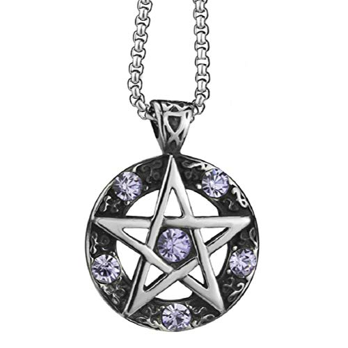 Blowin Purple Star Pentagram Pentacle Pagan Wiccan Witch Gothic Pewter Pendant + 23.5 Inch Necklace