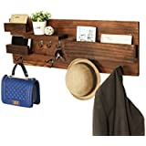 Wall Mounted Natural Wood Entryway Coat Racks, Key Hooks & Mail Holder Shelves - MyGift