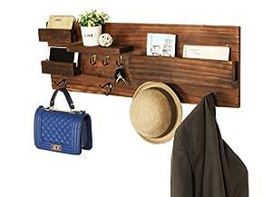 Wall Mounted Natural Wood Entryway Coat Racks, Key Hooks U0026 Mail Holder  Shelves   MyGift
