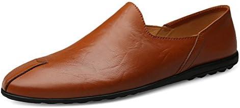 You Are Fashion 男性の運転ファッションカジュアル男性ローファー高品質金属装飾アップリケ本物の本革の靴男フラット靴ソフトソールペニーモカシン (Color : 褐色, サイズ : 28 CM)