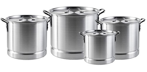 - Bioexcel High Quality Aluminium Stock Pots with Steamer Rack & Lid - Set of 3, 4 and 5 in sizes - 8/12/16/20/24/32/40/52/64/80/100 QT - Set of 4 includes 8/12/16/20