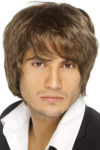 Smiffys Men's Short Brown Wig, One size, Boy Band Wig, -