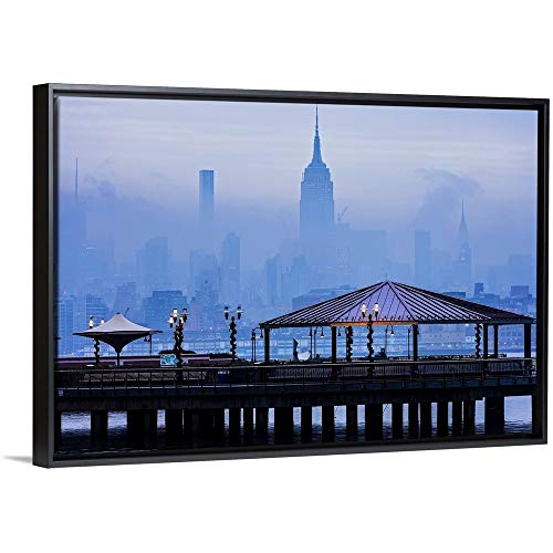 Empire State Building in A Foggy Morning Black Floating Frame Canvas Art, 32