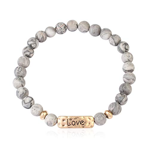 RIAH FASHION Inspirational Bar Natural Stone Stretch Prayer Bracelet - Christian Religious Message Adjustable Cuff Bangle Blessed/Faith/Love/Hope/Bible (Love - Grey Lace Agate)