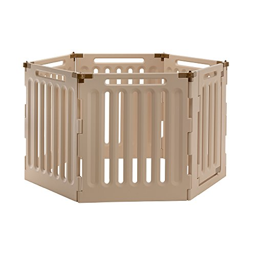 Richell Convertible Indoor/Outdoor Pet Playpen, Large, Soft Tan/Mocha by Richell