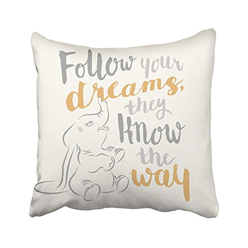 Emvency Decorative Throw Pillow Cover Square Size 16x16 Inches Dumbo Follow Your Dreams Pillowcase With Hidden Zipper Decor Cushion Gift For Holiday Sofa Bed