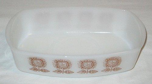 Vintage Federal Milk Glass Sunflower Pattern Loaf Pan 9.5