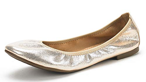 DREAM PAIRS Women's Latte Gold Comfort Ballet Flats Shoes Size 9 B(M) US ()