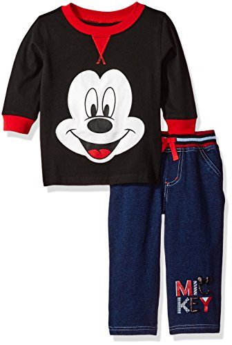 Disney Boys' 2 Piece Mickey Mouse Top and Knit Denim Pant Set, Black, (Mickey Mouse Clothes For Toddler Boy)