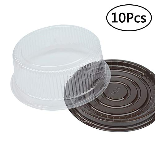 8 Inch Round Cake Container Chiffon Cake Disposable Clear Plastic with Black Base Carry Display Storage Box Set of 10 Pcs