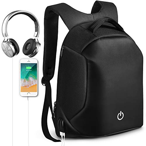HOMIEE Laptop Backpack, Waterproof Anti-Theft Travel Backpack with USB Charging Port & Headphone Jack for School and Business, Fits Up to 15.6 Inch Laptop Notebook, Outdoor Backpack for Men and Women - Leather Backpack Tech