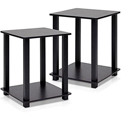 Furinno Simplistic furniture corner and side End lamp Table Set of 2, Espresso/Black
