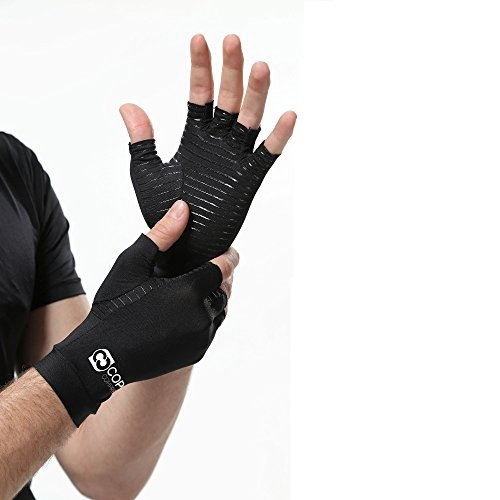 Copper Compression Arthritis Gloves - GUARANTEED Highest Copper Content. #1 Best Copper Infused Fit Glove For Carpal Tunnel, Computer Typing, And Everyday Support Hands And Joints (1 PAIR) (Medium)