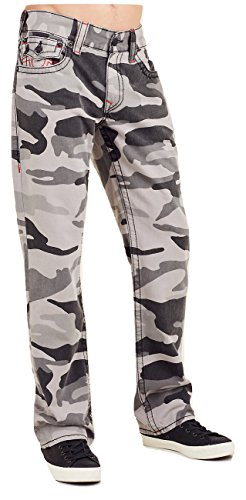 True Fit Camo (True Religion Men's Straight Leg Relaxed Fit Big T Jeansw/Flaps in Grey Camo (33))