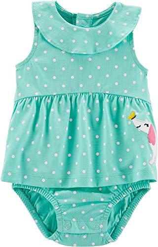 Carter's Baby Girls Polka Dot Sunsuit 6 Months Mint Green/White