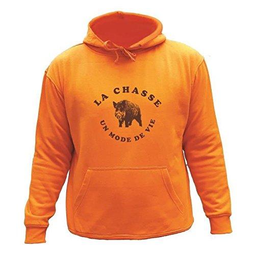 AtooDog Pull Orange à Capuche Chasse Sanglier