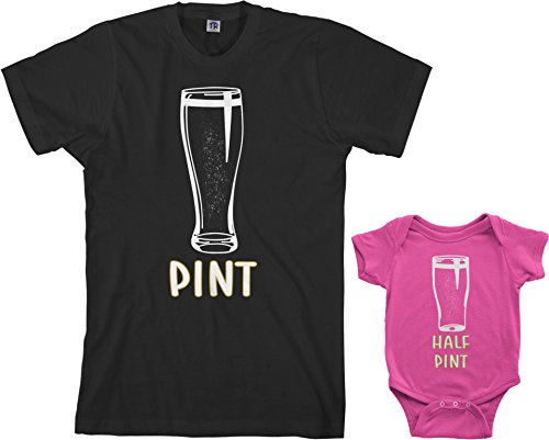 Threadrock Pint & Half Pint Infant Bodysuit & Men's T-Shirt Matching Set (Baby: 6M, Hot Pink|Men's: XL, Black)