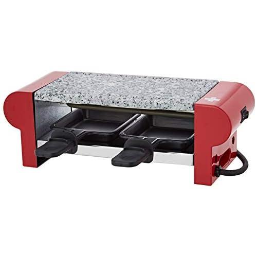 chollos oferta descuentos barato H Koenig RP2 Raclette 2 Personas Plancha De Piedra Natural 350 W Acero Inoxidable Rojo 2 Sartenes Antiadherentes