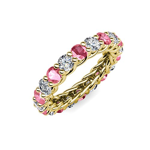 Tourmaline Pink Gallery - Pink Tourmaline & Diamond 3.8mm Gallery Eternity Band 3.34-3.80 Carat tw in 14K Yellow Gold.size 6.0