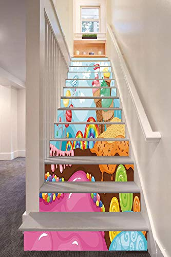 (Ice Cream Decor 3D Stair Riser Stickers Removable Wall Murals Stickers,Dessert Land with Rainbow Candies Lollipop Trees Cupcake Mountains Cartoon Decorative,for Home Decor)
