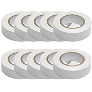 Pack Of 10 Pvc Insulation Tapes (Electrical) 19mmx20m White