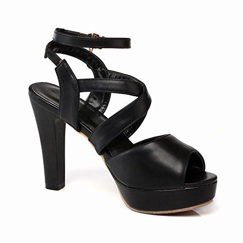 Mee Shoes Damen High Heels Plateau Slingback Sandalen Schwarz