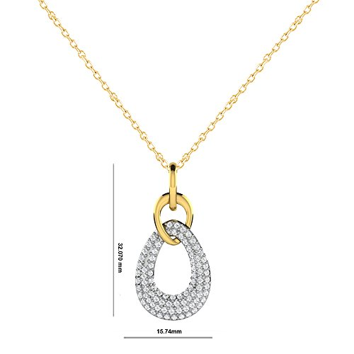 Libertini Pendentif argent 925 plaque or Jaune serti de Diamant en forme de Poire