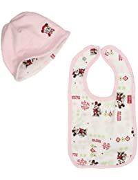 Baby-Girls Newborn Minnie Mouse My First Christmas Reversible Cap And Bib
