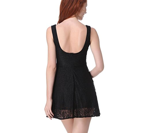 V Black A Floral Print Women's Neck Line GAMISS Dress Casual Swing Sleeveless Pleated Lace 5OqHTwW
