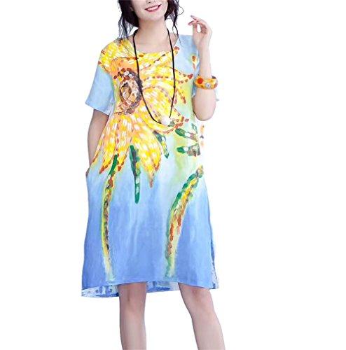 100% Linen Dress (Yesno BX3 Women Girl Loose Basic Knee Dress 100% Linen Oil Painting Side Slit /Pockets)