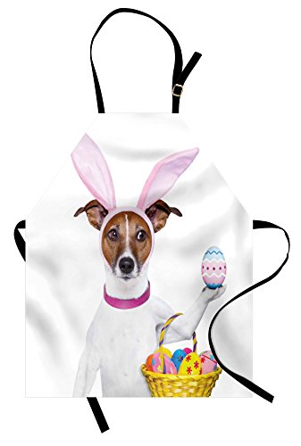 (Ambesonne Easter Apron, Dog Dressed up as Easter Bunny Holding a Basket of Eggs Funny Animal Illustration, Unisex Kitchen Bib Apron with Adjustable Neck for Cooking Baking Gardening,)